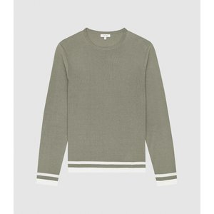 Reiss Handsome - Tipped Crew Neck Jumper In Sage, Mens, Size S Reiss51817253001, Sage