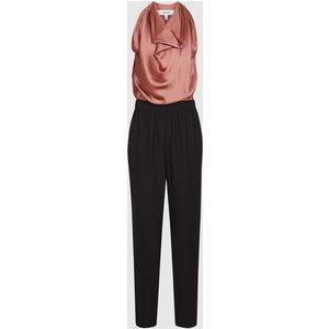 Reiss Harley - Drape Detail Jumpsuit In Black/pink, Womens, Size 12 Black And Pink Reiss33700820012, Black and Pink