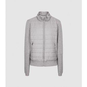 Reiss Harper - Hybrid Zip Through Quilted Jacket In Grey Marl, Womens, Size 18 Reiss18808143018, Grey Marl