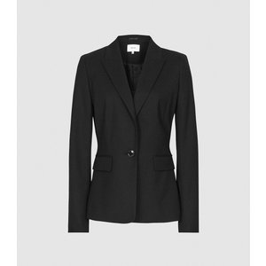 Reiss Hartley Cropped Jacket - Textured Cropped Blazer In Black, Womens, Size 8 Reiss16506320008, Black