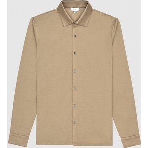 Reiss Hendon - Mercerised Cotton Shirt In Camel, Mens, Size L Reiss41700113003, Camel