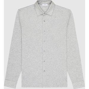 Reiss Hendon - Mercerised Cotton Shirt In Grey Melange, Mens, Size Xs Reiss41608143000, Grey Melange
