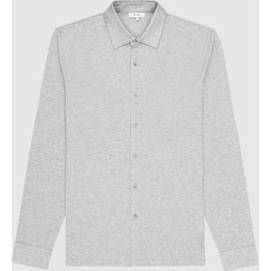 Reiss Hendon - Mercerised Cotton Shirt In Grey Melange, Mens, Size Xxl Reiss41608143005, Grey Melange