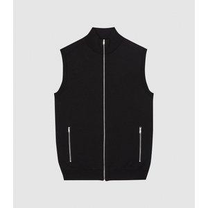 Reiss Henry - Knitted Zip Through Gilet In Black, Mens, Size S Reiss51709820001, Black