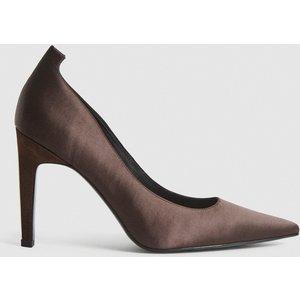 Reiss Hepburn - Satin Court Shoes In Brown, Womens, Size 4 Reiss85708614037, Brown