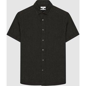 Reiss Holiday - Linen Slim Fit Shirt In Khaki, Mens, Size Xl Reiss32813751004, Khaki
