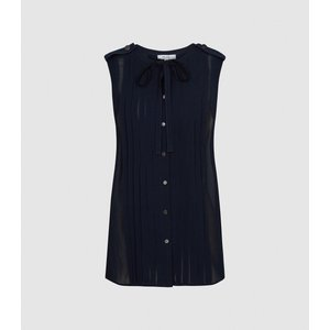 Reiss Isabelle - Pleat Detailed Sleeveless Blouse In Navy, Womens, Size 6 Reiss46817530006, Navy