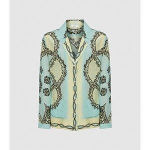 Reiss Jacquetta - Printed Cuban Collar Blouse In Green, Womens, Size 16 Reiss46821550016, Green