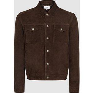 Reiss Jagger - Suede Trucker Jacket In Chocolate, Mens, Size S Brown Reiss13600715001, Brown