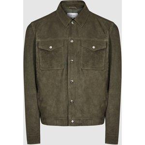Reiss Jagger - Suede Trucker Jacket In Green, Mens, Size L Reiss13702250003, Green