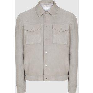Reiss Jagger - Suede Trucker Jacket In Soft Grey, Mens, Size S Reiss13702243001, Soft Grey