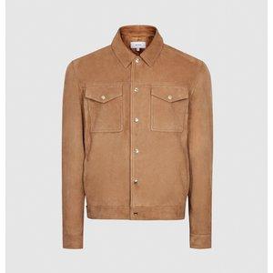 Reiss Jagger - Suede Trucker Jacket In Tobacco, Mens, Size L Brown Reiss13802714003, Brown