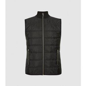 Reiss Jarrow - Hybrid Quilted Funnel Neck Gilet In Black, Mens, Size Xl Reiss41701220004, Black