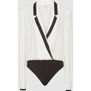 Reiss Jayde - Tuxedo Front Bodysuit In Ivory, Womens, Size 14 Cream Reiss46714401014, Cream