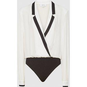 Reiss Jayde - Tuxedo Front Bodysuit In Ivory, Womens, Size 18 Reiss46714401018, Ivory