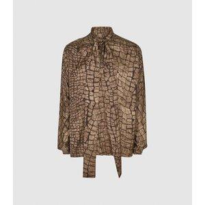 Reiss Jessie - Croc Print Blouse In Brown, Womens, Size 16 Reiss46715914016, Brown