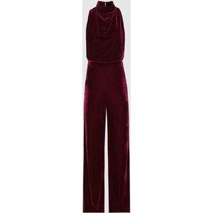 Reiss Joan - Velvet High Neck Jumpsuit In Berry, Womens, Size 14 Reiss33703766014, Berry