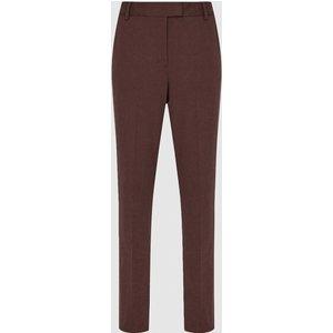 Reiss Joanne - Slim Fit Tailored Trousers In Berry, Womens, Size 12 Dark Red Reiss26708766012, Dark Red