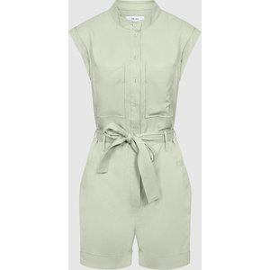 Reiss Joe - Linen Blend Playsuit In Green, Womens, Size 4 Reiss33900350004, Green
