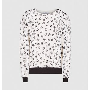 Reiss Jolie - Printed Blouse In Ivory, Womens, Size 8 Reiss46717001008, Ivory