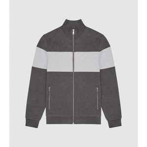 Reiss Jonathan - Contrast Stripe Zip Through Jumper In Grey, Mens, Size Xxl Reiss41707843005, Grey