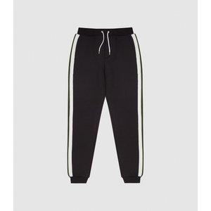Reiss Jordan - Joggers With Knitted Side Stripe In Black, Mens, Size L Reiss41708720003, Black