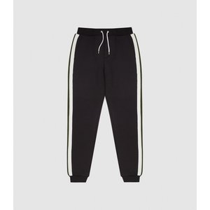 Reiss Jordan - Joggers With Knitted Side Stripe In Black, Mens, Size Xxl Reiss41708720005, Black