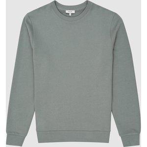 Reiss Joseph - Garment-dye Sweatshirt In Dark Sage, Mens, Size L Green Reiss41704550003, Green