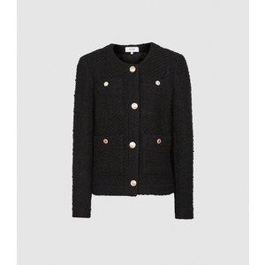 Reiss June - Short Boucle Jacket In Black, Womens, Size 16 Reiss18705920016, Black