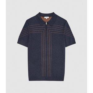 Reiss Kade - Zip Through Polo Shirt In Navy, Mens, Size Xs Reiss51708430000, Navy