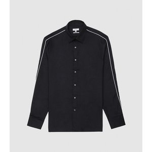 Reiss Kamara - Slim Fit Shirt With Piped Detailing In Navy, Mens, Size S Navy Blue Reiss32708130001, Navy Blue