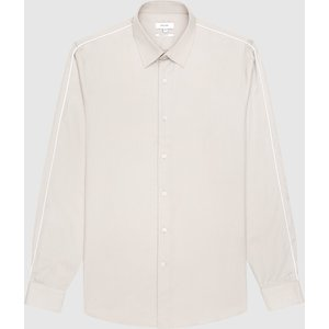 Reiss Kamara - Slim Fit Shirt With Piped Detailing In Taupe, Mens, Size M Cream Reiss32708116002, Cream