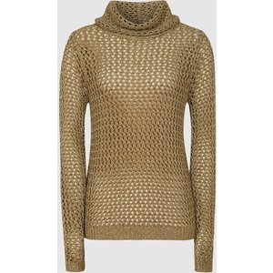 Reiss Karina - Metallic Open-knit Roll Neck In Bronze, Womens, Size L Reiss55713912003, Bronze