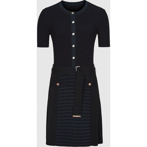 Reiss Kate - Belted Knitted Dress In Navy, Womens, Size Xs Navy Blue Reiss29732030000, Navy Blue