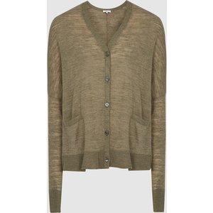 Reiss Kate - Linen Blend Fine Knit Cardigan In Khaki, Womens, Size L Reiss55902251003, Khaki
