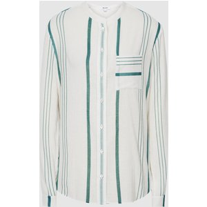 Reiss Katey - Striped Grandad Collar Shirt In Green, Womens, Size 18 Reiss46821950018, Green