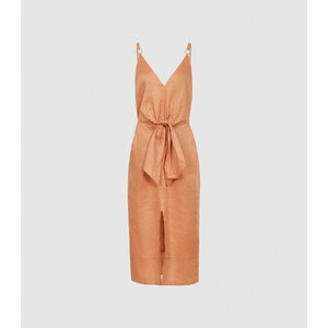 Reiss Kay - Linen Midi Dress With Tie Detail In Coral, Womens, Size 12 Coral Pink/orange Reiss29837566012, Coral Pink/Orange
