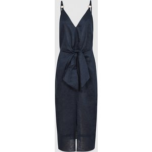 Reiss Kay - Linen Midi Dress With Tie Detail In Navy, Womens, Size 4 Reiss29837530004, Navy