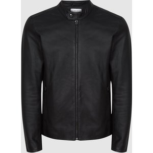 Reiss Keith - Leather Cafe Racer Jacket In Black, Mens, Size S Reiss13702120001, Black
