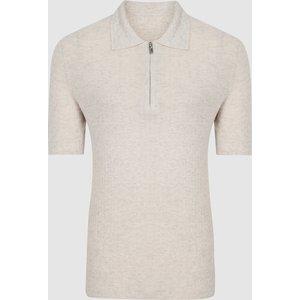 Reiss Kelly - Ribbed Zip Neck Polo Shirt In Grey Melange, Womens, Size S Reiss55905543001, Grey Melange