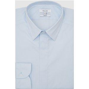Reiss Kiana - Cotton Stretch Poplin Slim Fit Shirt In Blue, Mens, Size Xs Reiss31601945000, Blue