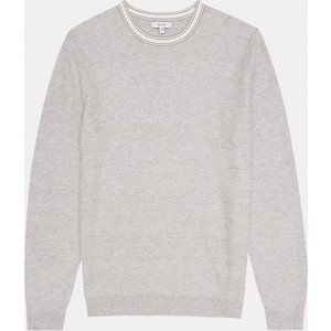 Reiss Krispin - Tipped Crew Neck Jumper In Grey, Mens, Size L Reiss51813743003, Grey