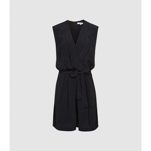 Reiss Lavinia - Wrap Front Playsuit In Black, Womens, Size 8 Reiss33410520008, Black