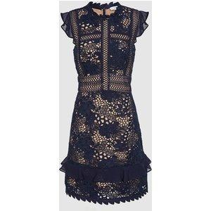 Reiss Lena - Ruffle-trim Lace Dress In Navy, Womens, Size 18 Navy Blue Reiss29640630018, Navy Blue