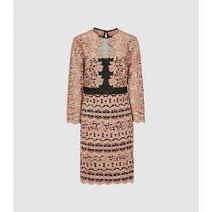 Reiss Lenny - Lace Mini Dress In Pink, Womens, Size 16 Pink And Black Reiss29734066016, Pink and Black