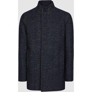 Reiss Leonardo - Wool Blend Mid Length Coat In Navy, Mens, Size L Blue Reiss14504530003, Blue