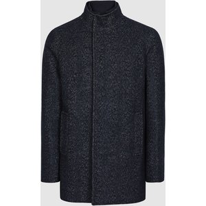 Reiss Leonardo - Wool Blend Mid Length Coat In Navy, Mens, Size Xxl Blue Reiss14504530005, Blue
