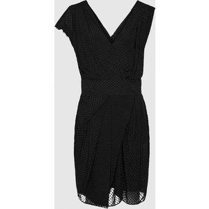 Reiss Leonora - Semi-sheer Wrap Front Dress In Black, Womens, Size 8 Reiss29716120008, Black