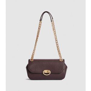Reiss Lexi Medium - Leather Shoulder Bag In Plum, Womens Reiss98705761099, Plum