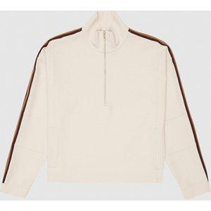 Reiss Libby - Side Stripe Loungewear Zip Through In Ivory, Womens, Size S Reiss86805401001, Ivory